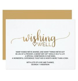Elegant Gold Calligraphy Wedding Wishing Well Card