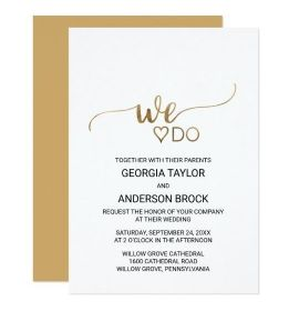 "Simple Elegant Gold Calligraphy ""We Do"" Wedding Card"