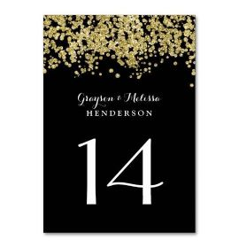 Glam Wedding Table Number | Chic Black and Gold
