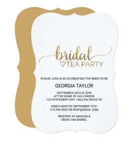 Simple Elegant Gold Calligraphy Bridal Tea Party Card