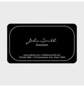 Plain Round Corner Consultant Dark Business Card