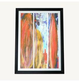October Red Gold Split Landscape Canvas Print